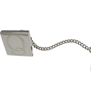 Letter Q Etched Monogram Pendant Tie Tack